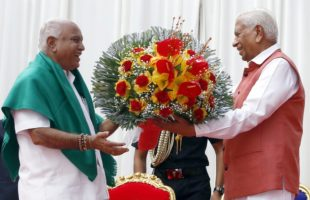 Yeddyurappa, 75, took the oath in Kannada in the presence of party's central and state leaders