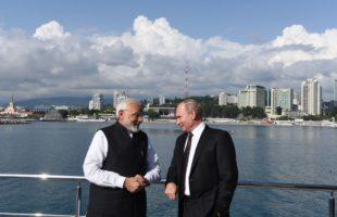 Prime Minister Narendra Modi with the Russian President Vladimir Putin in Sochi, Russia