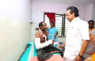 Palaniswamy visiting the injured at the hospital