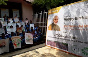 KISS Students Celebrate PM Modi's Birth Day
