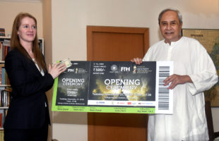 Odisha CM buys first ticket of the opening ceremony of the International Hockey event