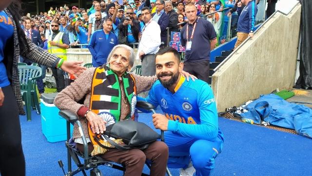 Kohli, Rohit greet 87-year-old fan at Edgbaston stands