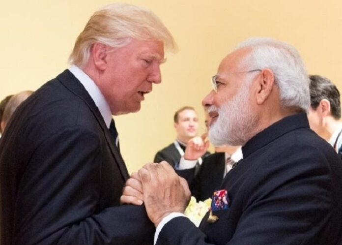 Narendra Modi with President Donald Trump